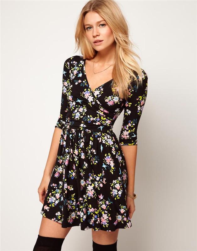 C0277 - Floral V-Neck Dress – HANAJAE