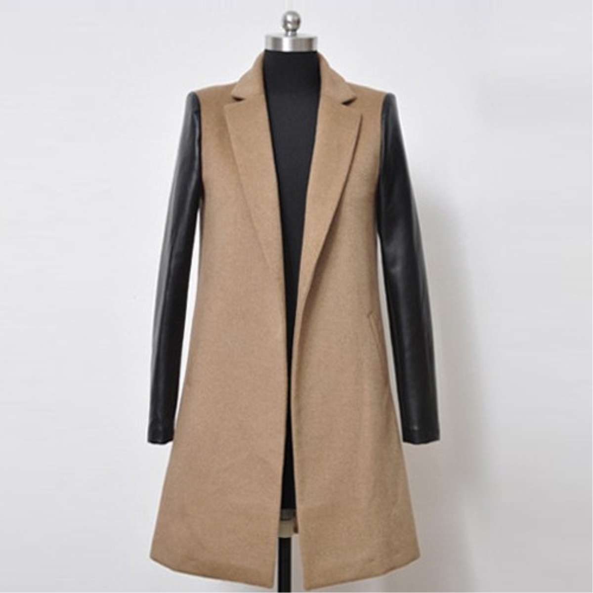 Lapel PU Split Joint Woolen Coat,Cheap in Wendybox.com