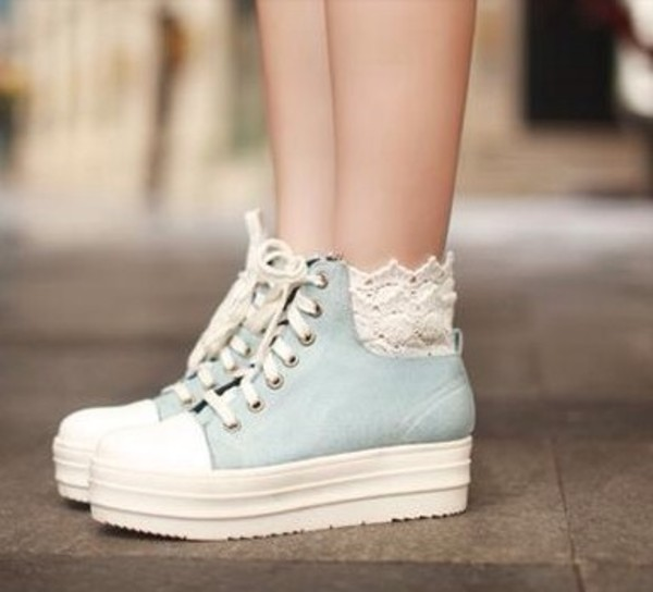 shoes denim platform sneakers