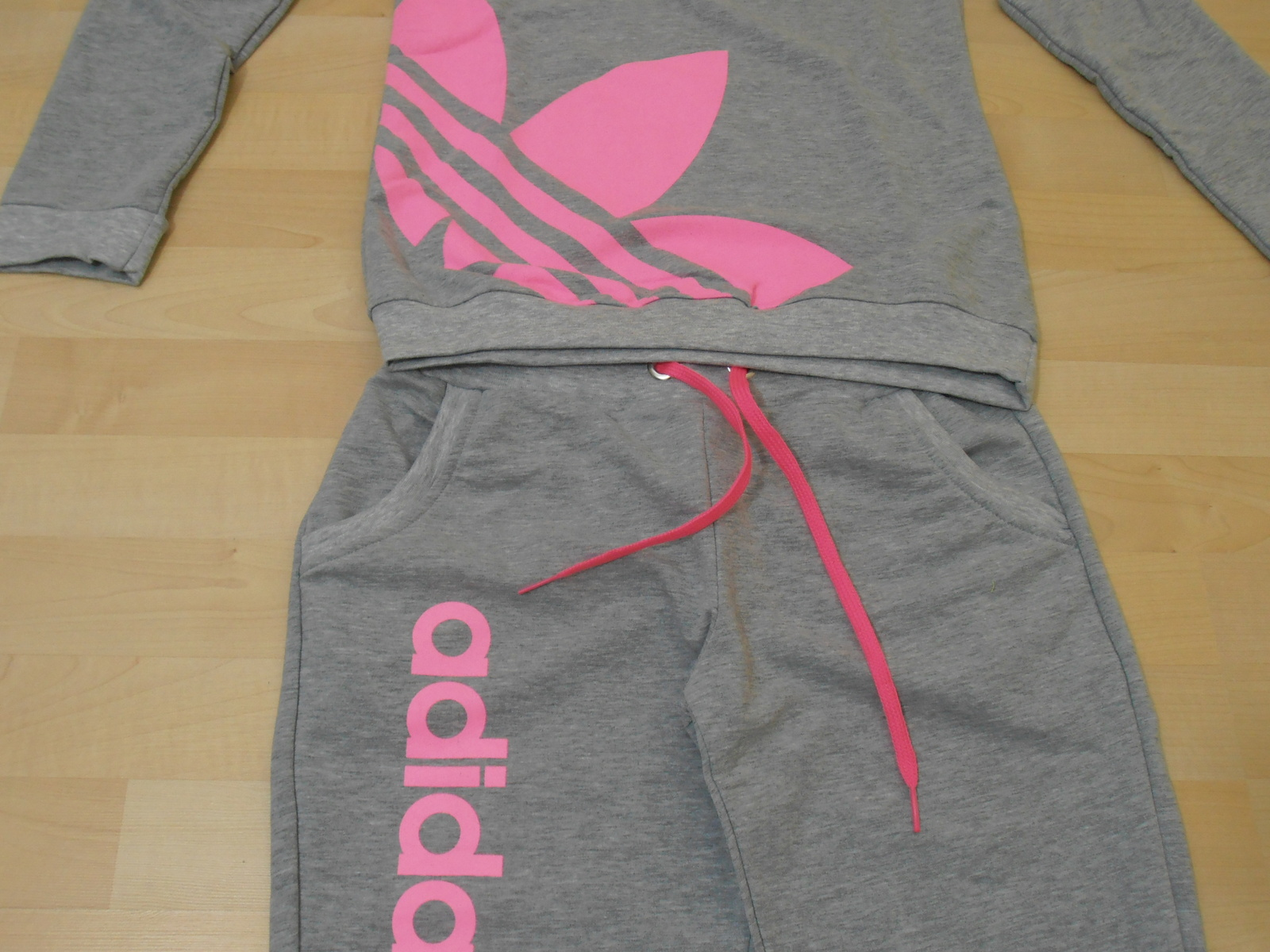 New Adidas Neon Color Women Tracksuit Sweatsuit Jogging Gray/Pink color - Athletic Apparel