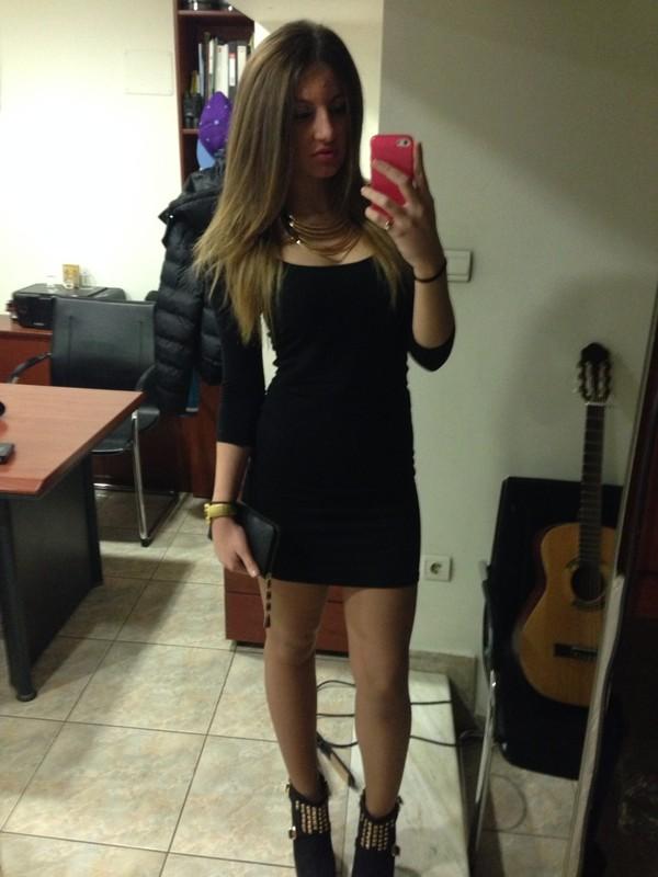 dress skinny little black dress diva gold watch gold necklace high heels