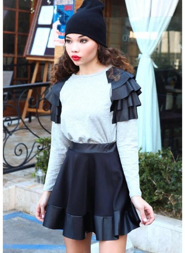 sweater black leather grey