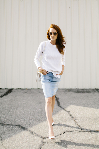could i have that blogger sweater shoes t-shirt bag white sweater denim skirt high heel pumps pumps