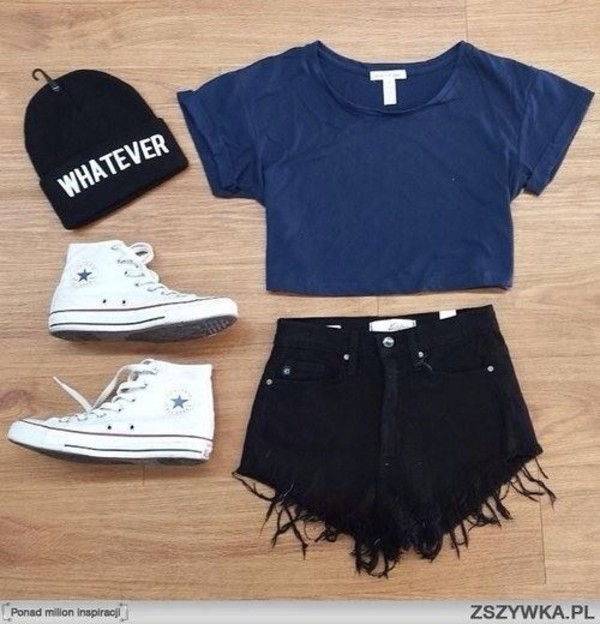shorts hat t-shirt shoes top crop crop tops short blue shirt cute shorts beenie converse whatever blue shirt black shorts black beanie crop tops all of this outfit blouse black beanie skirt blak shorts black pants denim shorts frayed denim