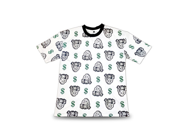 dollars money cash hipster kawaii summer outfits white t-shirt heels print vintage