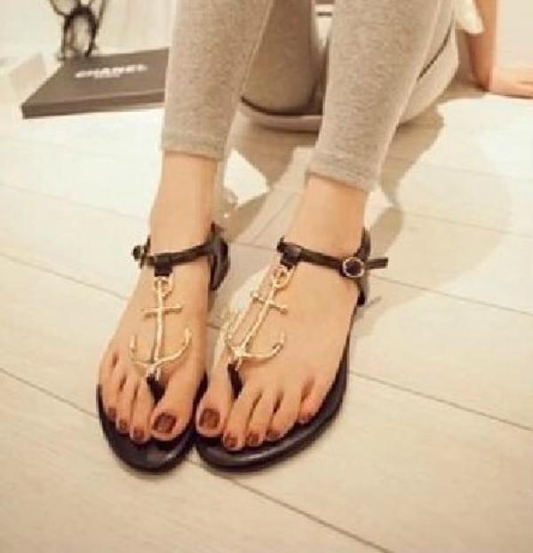 shoes black sandals anchor cute