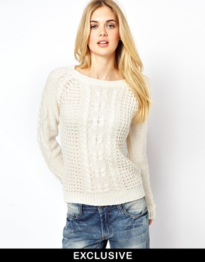 Vila | Vila Swirl Cable Knit Sweater at ASOS