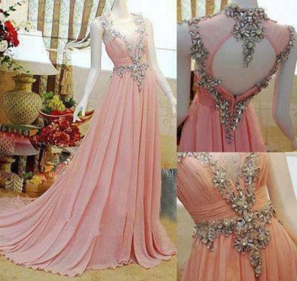 dress gown pink pink dress pink gown formal formal dress fairy beading detail fairy tale chiffon my silk fairytale rhinestone neckpiece prom dress rhinestones prom gowns
