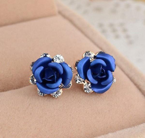 jewels earrings blue rose