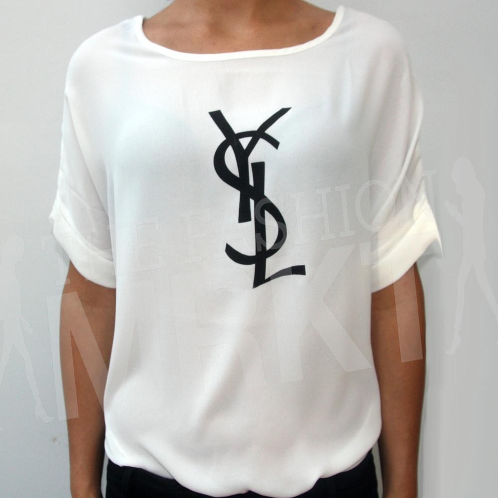 YSL Graphic Print Silk Top / TheFashionMRKT