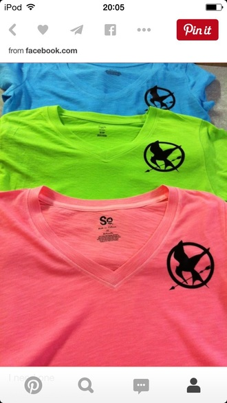 top blue green pink the hunger games mockingjay