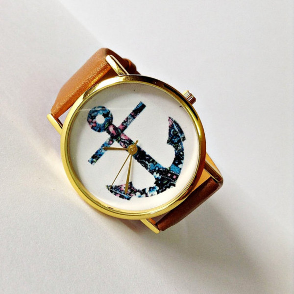 jewels anchor watch nautical watch jewelry fashion style accessories watch watch vintage style leather watch etsy handmade