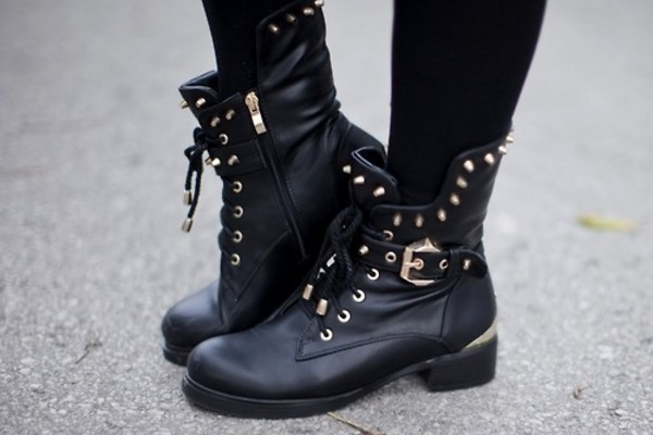 shoes combat boots boots black spikes black combat boots gold studs style swag studded shoes