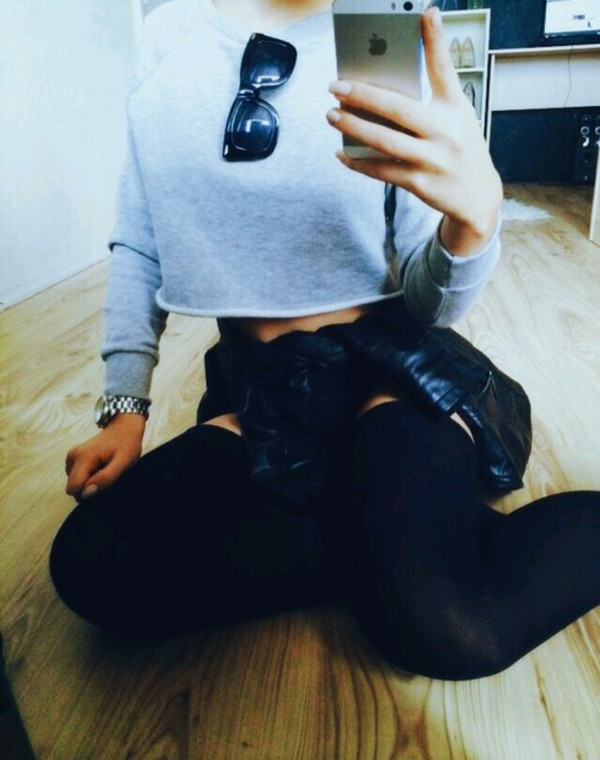 jacket sunglasses knee high socks crewneck leather jacket watch grey
