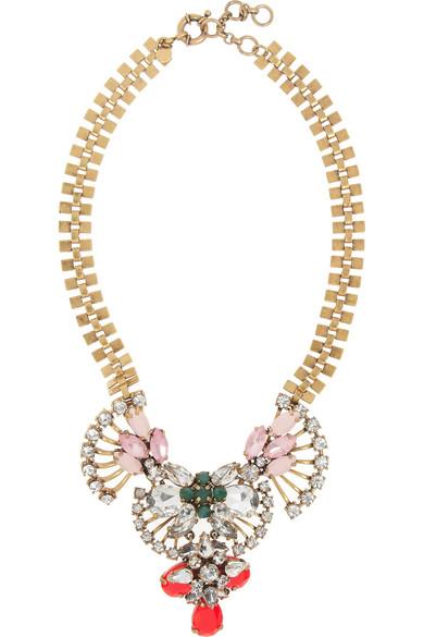 J.Crew Crystal Fan necklace NET-A-PORTER.COM