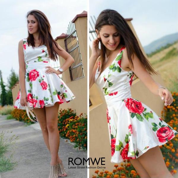ROMWE | ROMWE Bandeau Rose Print Tank Skater Dress, The Latest Street Fashion