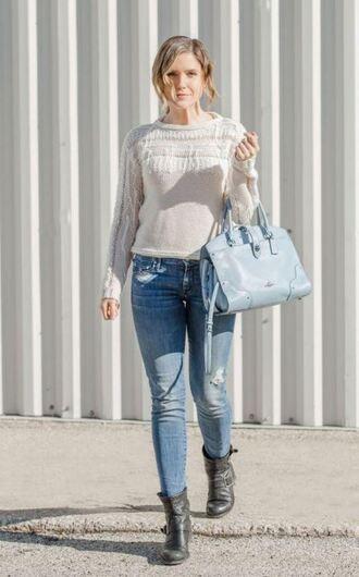 sweater jeans boots bag sophia bush