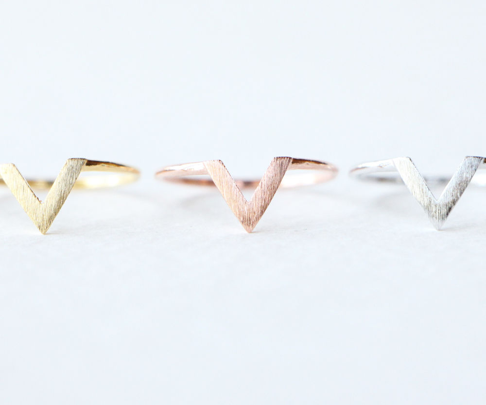 V Chevron Ring / Gold Silver Rose Brushed Celebrity Cute Hot Womens Girls R037 | eBay