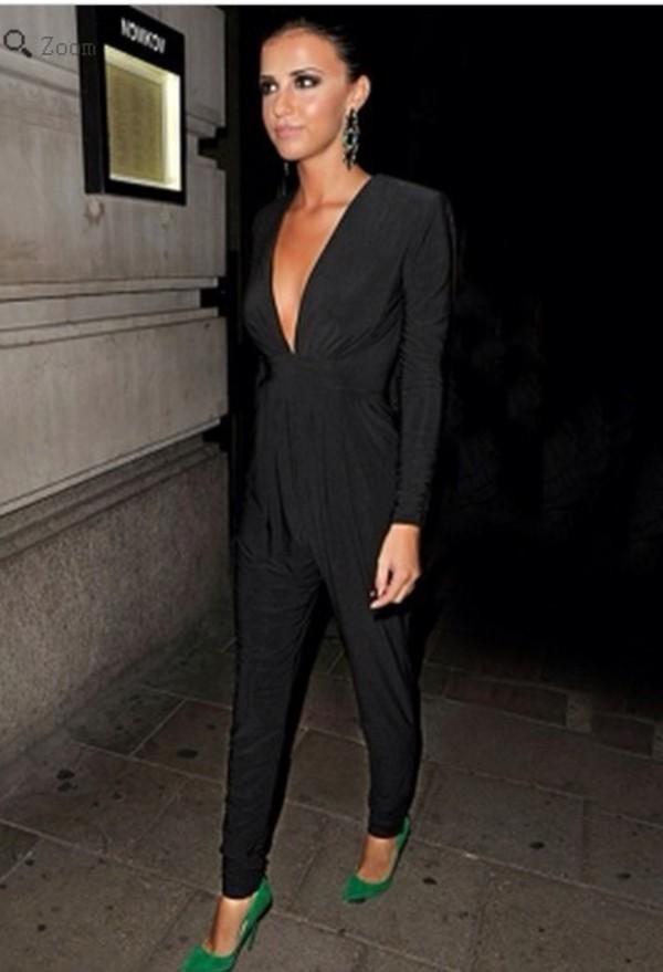 pants black lucy meck waterfall jumpsuit