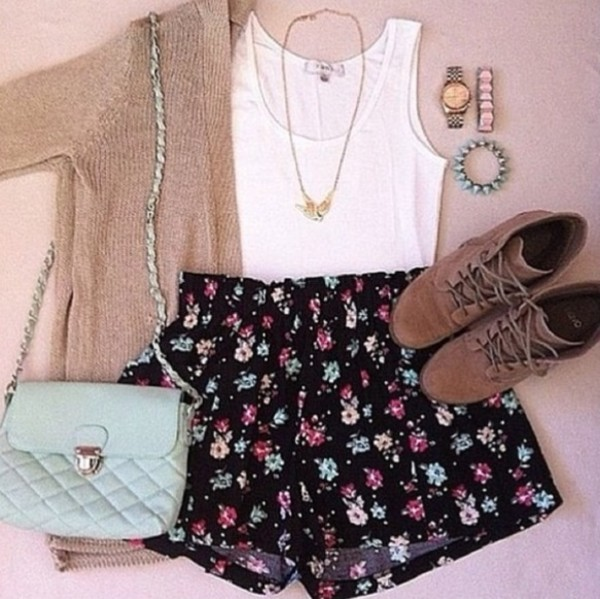 shoes sweater bag shorts tan cardigan white tank top floral pants brown shoes sparings jewels