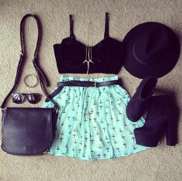 skirt clothes blue cute cross cross skirt cross print light blue shoes purse hat sunglasses i need this help clothes bag