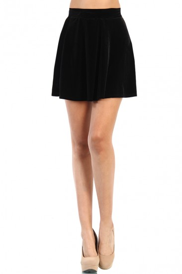 LoveMelrose.com From Harry & Molly | Velvet Skater Skirt - Black