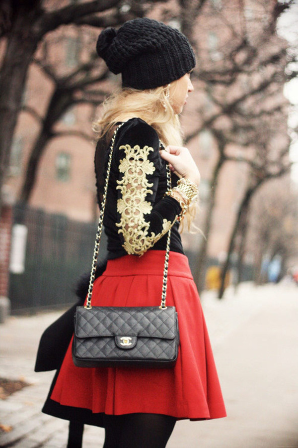 bag chanel beanie red skirt blouse winter outfits skirt