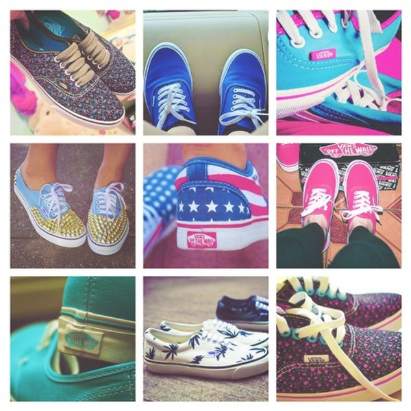shoes vans studs usa pink blue colorful swag girl american flag