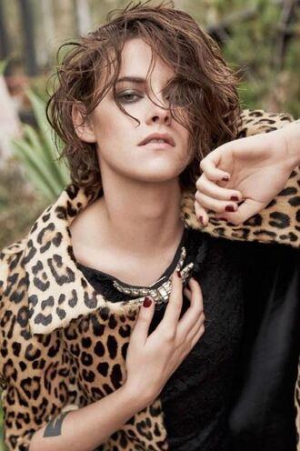 dress coat animal print kristen stewart leopard print black dress