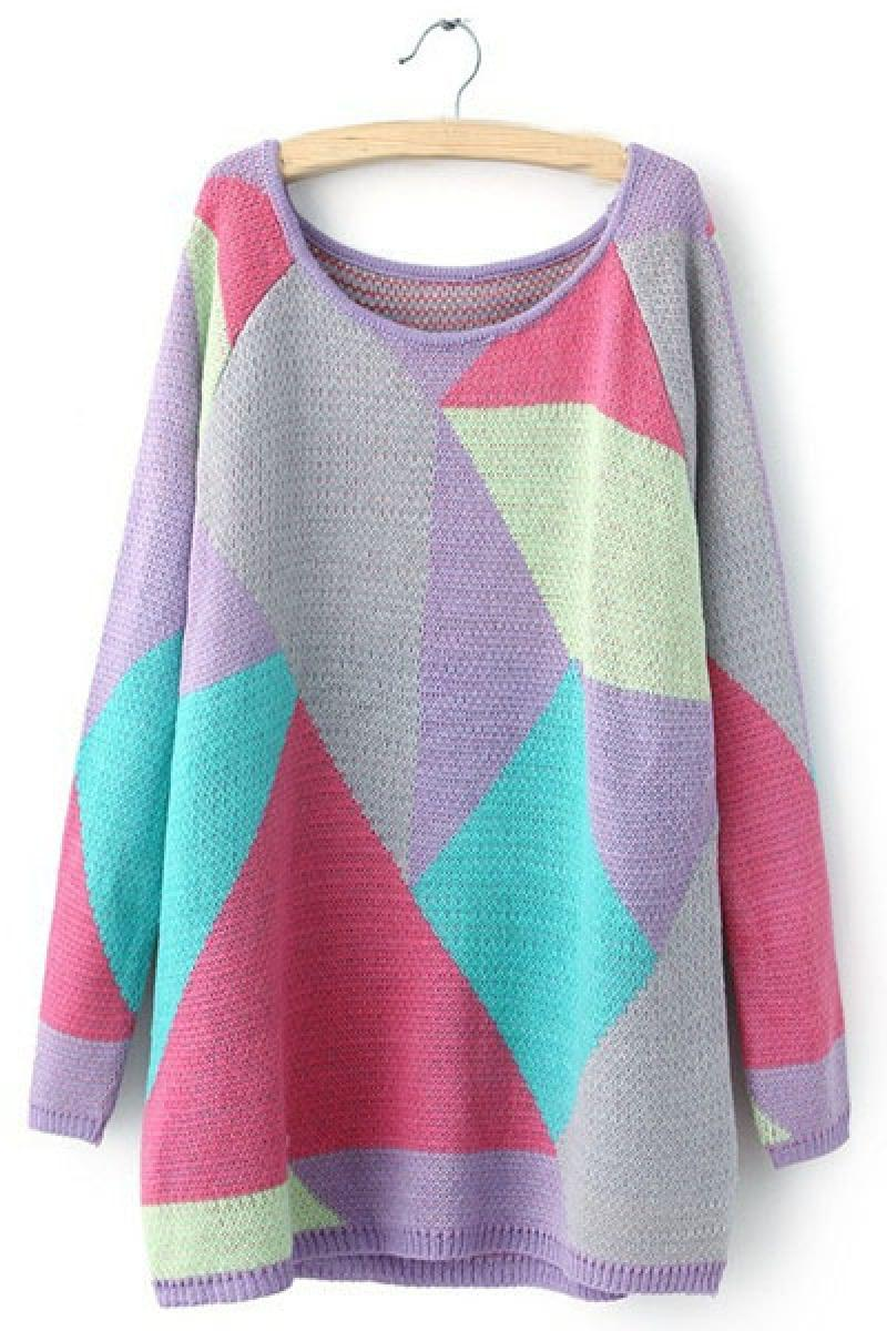 New Fashional Chromatic Geometric Color Matching Pullover Sweater,Cheap in Wendybox.com