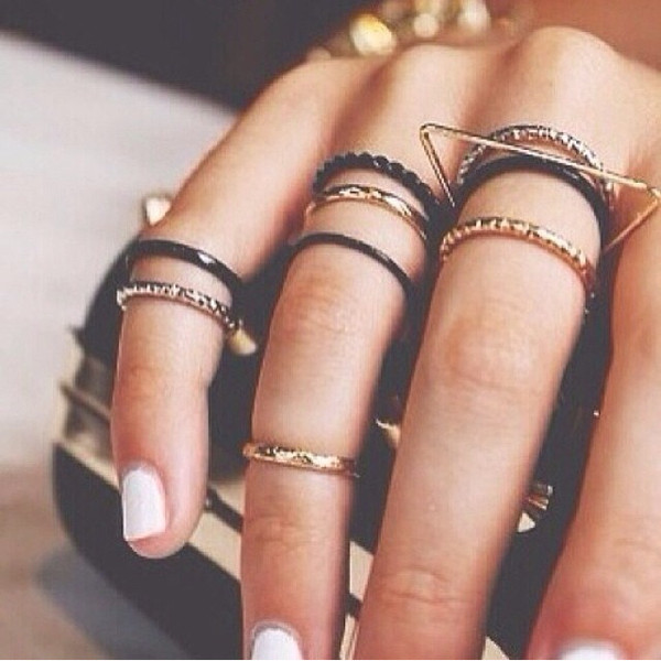 jewels ring nails black gold clutch knuckle ring knuckle ring