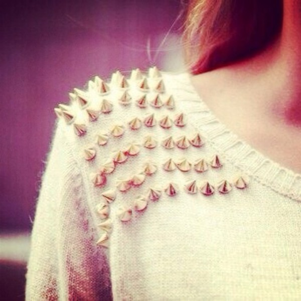 sweater studs spiked sweet cute fashion girl