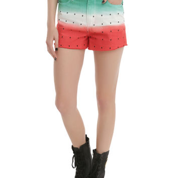 LOVEsick Skull Watermelon High-Waisted Cut-Off Shorts on Wanelo