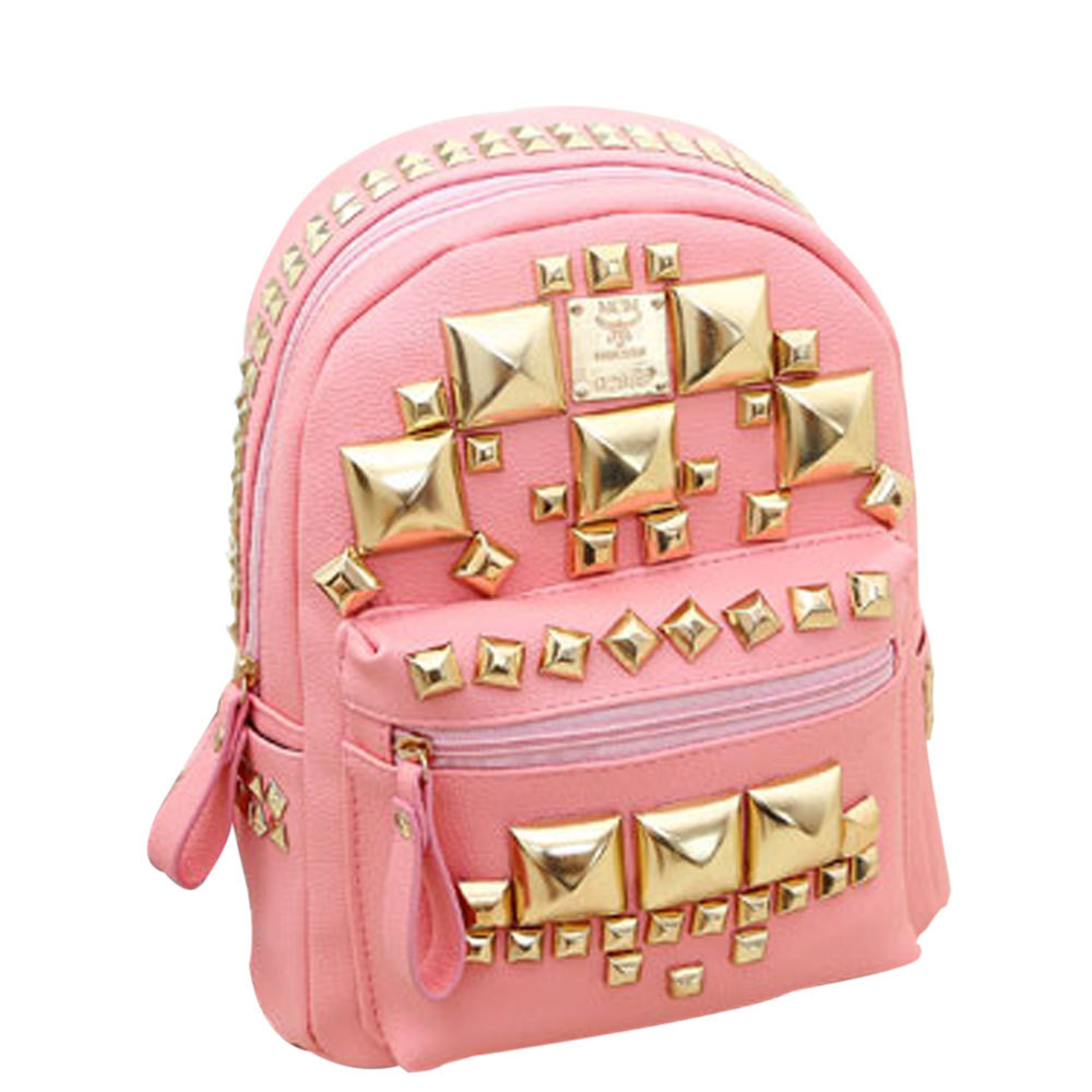 [grxjy5204143]Fashion Square Rivets Backpack School Bag / thevintagestudio