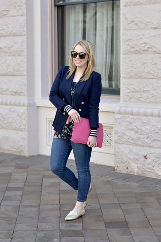 ablonde'smoment blogger blouse jacket jeans bag shoes sunglasses jewels make-up