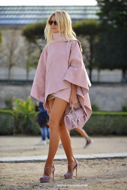 coat capelett cape cape capelett cape blazer cape jacket pink dress shorts dusty pink suede pink bag suede bag