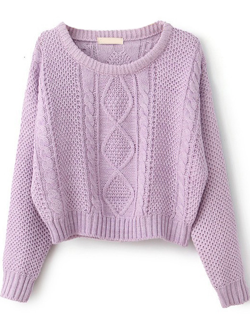 Purple Long Sleeve Cable Knit Pullover Sweater - Sheinside.com
