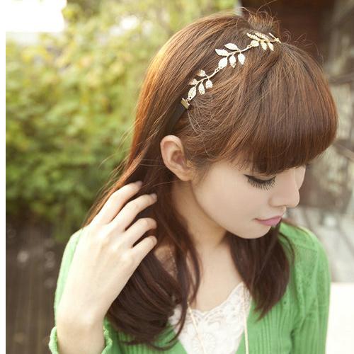 Olive Leaves Girls Headband Hair Band Lovely Metallic Elastic Necklace Korean | eBay