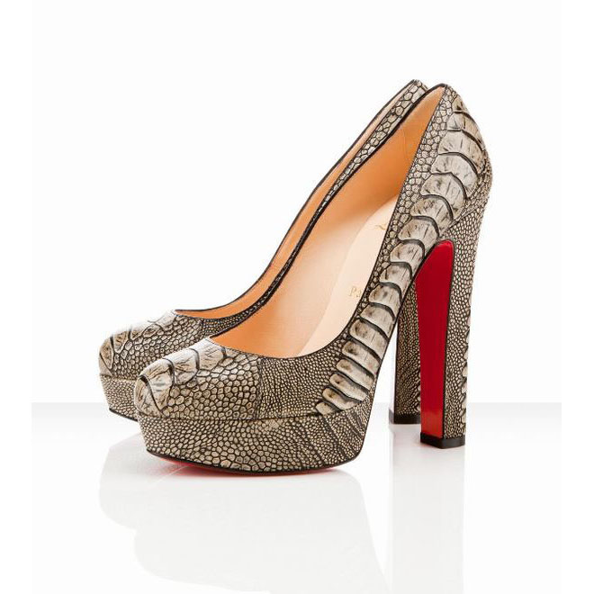 taupe christian louboutin bibi 140mm ostrich leather pumps