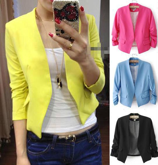 New Women's Fashion Korea Candy Color Solid Slim Suit Blazer Coat Jacket s M L J   eBay