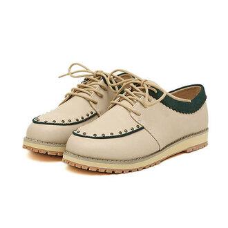 shoes flat retro rivet contrast color