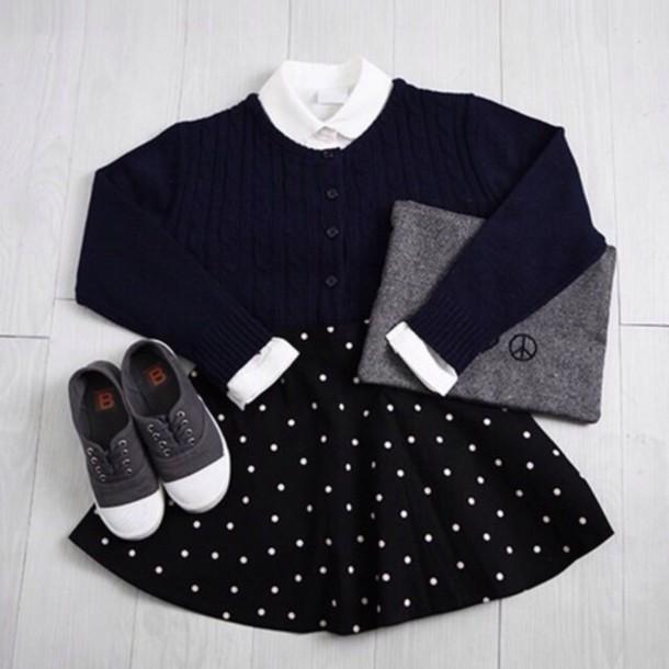 skirt mini skirt dotted skirt black skirt