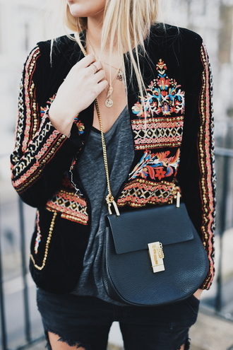 en vogue coop blogger ethnic jacket chloe bag ripped jeans embellished jacket spring jacket boho jacket