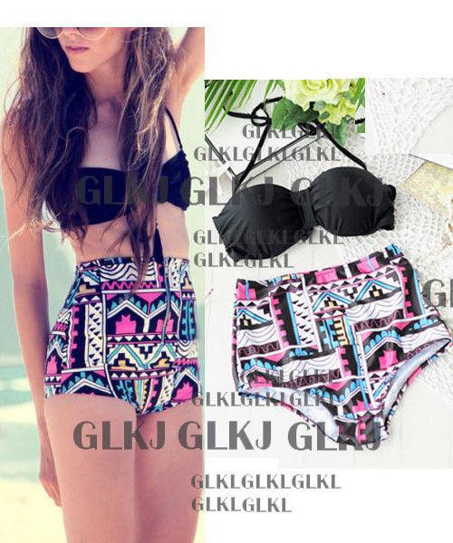 New Women's High Waisted Bikini Push Up Padded Gothic Swimwear Swimsuit M XL | eBay