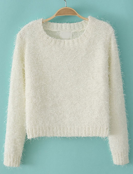 White Long Sleeve Fluffy Crop Sweater - Sheinside.com