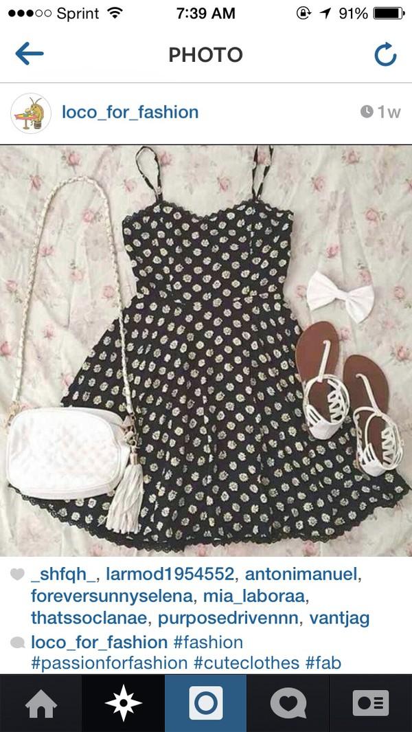 dress black lace spagetti straps white