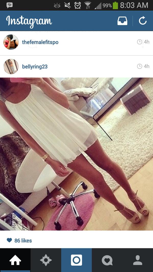dress white dress flowy short shoes
