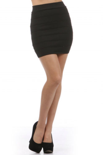 Sexy Club Casual Black Bandage Seamed Knit Stretch High Waist Mini Skirt M | eBay