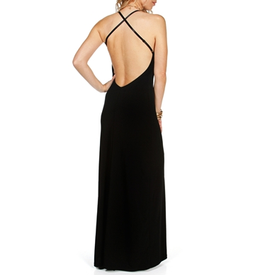 Kirsten- Black X-Back Long Dress