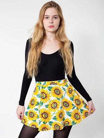 Sunflower Print Stretch Bull Denim Circle Skirt   American Apparel